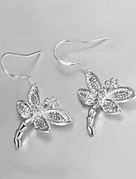 Women's Fashion Simple Dragonfly Shape Silver Drop Earrings