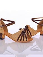Women's Latin Silk Heel Indoor Customized Heel Gold Customizable