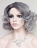 cheap -Synthetic Hair Wigs Curly Ombre Hair With Bangs Party Wig Natural Wigs Short Medium Grey
