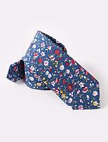 Недорогие -синий цветочный тощие галстуки хлопок