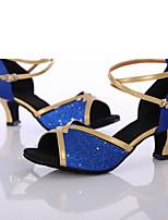 Da donna Balli latino-americani Paillette Tacchi Per interni Tacco su misura Blu Personalizzabile
