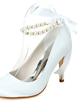 cheap -Women's Shoes Satin Spring Summer Basic Pump Wedding Shoes Stiletto Heel Round Toe Imitation Pearl Ribbon Tie for Wedding Party & Evening