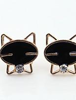 Korean Fashion Cute Black Smiley Cat Rhinestones Fine Earrings