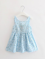 cheap -Girl's Party Daily Going out Holiday School Floral Print Jacquard Dress, Cotton All Seasons Sleeveless Simple Vintage Cute Light Blue