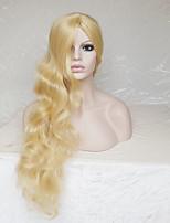 Donna Parrucche sintetiche Senza tappo Lungo Ondulati Onda riccia Blonde Con frangia Parrucca di Halloween Parrucca naturale Parrucca per