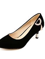 Для женщин Обувь Нубук Весна Осень Удобная обувь Обувь на каблуках На шпильке Заостренный носок Стразы Назначение Черный Красный