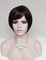 Women Synthetic Wig Capless Short Straight Dark Auburn Bob Haircut With Bangs Party Wig Natural Wigs Costume Wig