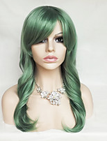 Women Synthetic Wig Capless Long Wavy Natural Wave Black Green Blue Purple Blonde With Bangs Party Wig Halloween Wig Costume Wig