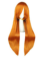 Women Synthetic Wig Capless Long Kinky Straight Orange Natural Hairline Cosplay Wig Costume Wig