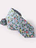 cheap -Sky Blue Floral Skinny Ties Cotton
