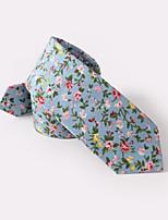 Недорогие -голубой цветочные тощие галстуки хлопок