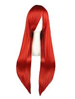 Donna Parrucche sintetiche Senza tappo Lungo Kinky liscia Rosso Attaccatura dei capelli naturale Parrucca Cosplay Parrucca per