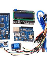 Learning Tools MEGA 2560 R3 Board + Ethernet W5100 + Relay + Breadboard Cable + Hc-Sr04 Sensor Kit for Arduino