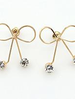 Mulheres Brincos Curtos Gema Moda Imitações de Diamante Liga Formato de Laço Jóias Para Diário Encontro