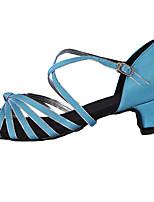 Women's Latin Silk Heel Beginner Low Heel Blue Customizable