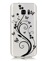billige -For Samsung Galaxy S7 Edge Transparent Mønster Etui Bagcover Etui Fjer Blødt TPU for Samsung S7 edge S7 S6