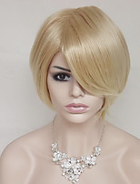 cheap -Synthetic Hair Wigs kinky straight Bob Haircut With Bangs Party Wig Natural Wigs Short Light Blonde