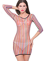 Costumes Vêtement de nuit Femme,Col Arrondi Jacquard-Fin Nylon Arc-en-ciel