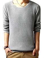 cheap -Men's Daily Sports Vintage Casual Regular Pullover,Solid Round Neck Long Sleeves Polyester Japanese Cotton Winter Fall Thick strenchy