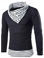 Men's Holiday Casual/Daily Vintage Simple Street chic Regular Pullover,Striped Geometric Turtleneck Long Sleeves Cotton Fall Winter Medium
