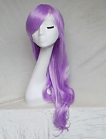 Women Synthetic Wig Capless Long Wavy Purple With Bangs Party Wig Halloween Wig Natural Wigs Costume Wig