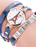 abordables -Mujer Reloj de Moda Reloj Pulsera Cuarzo / La imitación de diamante Brillante PU Banda Torre Eiffel Cool CasualNegro Blanco Azul Rojo