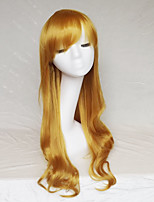 Women Synthetic Wig Capless Long Wavy Yellow With Bangs Party Wig Halloween Wig Natural Wigs Costume Wig