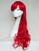 Women Synthetic Wig Capless Long Wavy Red With Bangs Party Wig Halloween Wig Natural Wigs Costume Wig