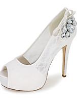 Feminino Sapatos Renda Primavera Verão Plataforma Básica Sapatos De Casamento Salto Agulha Peep Toe Pedrarias para Casamento Festas &