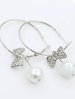 Damen Kreolen Imitierte Perlen Strass Sexy Modisch Künstliche Perle Strass Aleación Kreisform Schleifenform Schmuck FürHochzeit Party