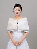 cheap -Women's Wrap Capelets Sleeveless Faux Fur Ivory Wedding Off-the-shoulder 35cm Rhinestone Clasp