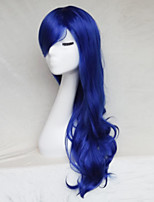 Women Synthetic Wig Capless Long Wavy Royal Blue With Bangs Party Wig Halloween Wig Natural Wigs Costume Wig