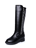 Women's Boots Comfort PU Fall Winter Casual Zipper Flat Heel Brown Black Flat