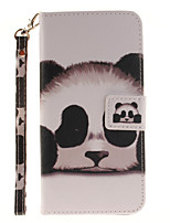 Painted Panda Pattern Card Can Lanyard PU Phone Case For Samsung Galaxy S5 S6 S7 edge Plus