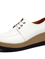 cheap -Women's Shoes Leather Spring Fall Comfort Sneakers Creepers Round Toe for Casual Dress White Black