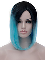 cheap -Synthetic Wig Straight / kinky Straight Asymmetrical Haircut Synthetic Hair Natural Hairline Blue Wig Women's Mid Length Capless Blue