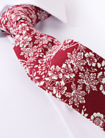 cheap -Burgundy Floral Skinny Ties Cotton