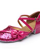 Women's Latin Paillette Leatherette Heels Beginner Sequin Low Heel Fuchsia Under 1