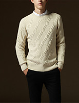 cheap -Men's Daily Solid Pullover, Long Sleeves Winter Fall