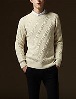 Недорогие -Муж. Однотонный Пуловер, Повседневные Длинный рукав Зима Осень
