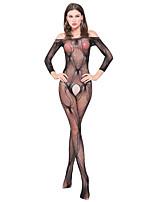 Costumes Vêtement de nuit Femme,Bateau Jacquard-Fin Nylon Noir