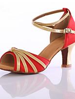 Women's Latin Silk Heel Performance Customized Heel Red Fuchsia Black Customizable