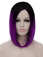 cheap -Synthetic Wig Straight / kinky Straight Asymmetrical Haircut Synthetic Hair Natural Hairline Purple Wig Women's Mid Length Capless Purple