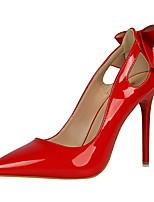 Damen Schuhe Lackleder Frühling Sommer Neuheit High Heels Stöckelabsatz Spitze Zehe Schleife Für Kleid Party & Festivität Schwarz Grau