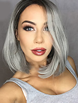 cheap -2016 New Grey Ombre hair Black to gray Synthetic Lace Front Wigs Bob wigs