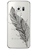 billige -For Samsung Galaxy S7 Edge Transparent / Mønster Etui Bagcover Etui Fjer Blødt TPU SamsungS7 edge / S7 / S6 edge plus / S6 edge / S6 / S5