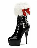 abordables -Mujer Zapatos Vellón Cuero Patentado Invierno Otoño Botas de Moda Zapatos del club Zapatos con luz Botas Tacón Stiletto Plataforma Tacón