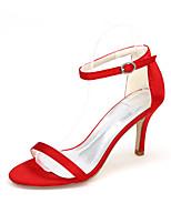 preiswerte -Damen Schuhe Satin Frühling Sommer Zehenring Hochzeit Schuhe Stöckelabsatz Offene Spitze Schnalle für Hochzeit Party & Festivität Purpur