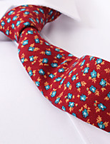 cheap -Red Floral Skinny Ties Cotton
