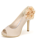 cheap -Women's Shoes Satin Spring Summer Basic Pump Wedding Shoes Null Stiletto Heel Peep Toe Null Appliques Buckle for Wedding Party & Evening